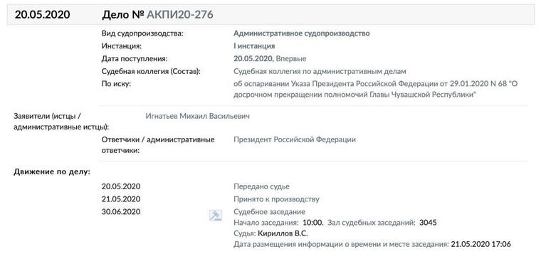Бывший глава Чувашии судится с Путиным из-за своей отставки. СКРИН